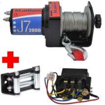 Elektromos csörlő quadhoz 900kg 12V-os (kompletten, kézivezérlős)