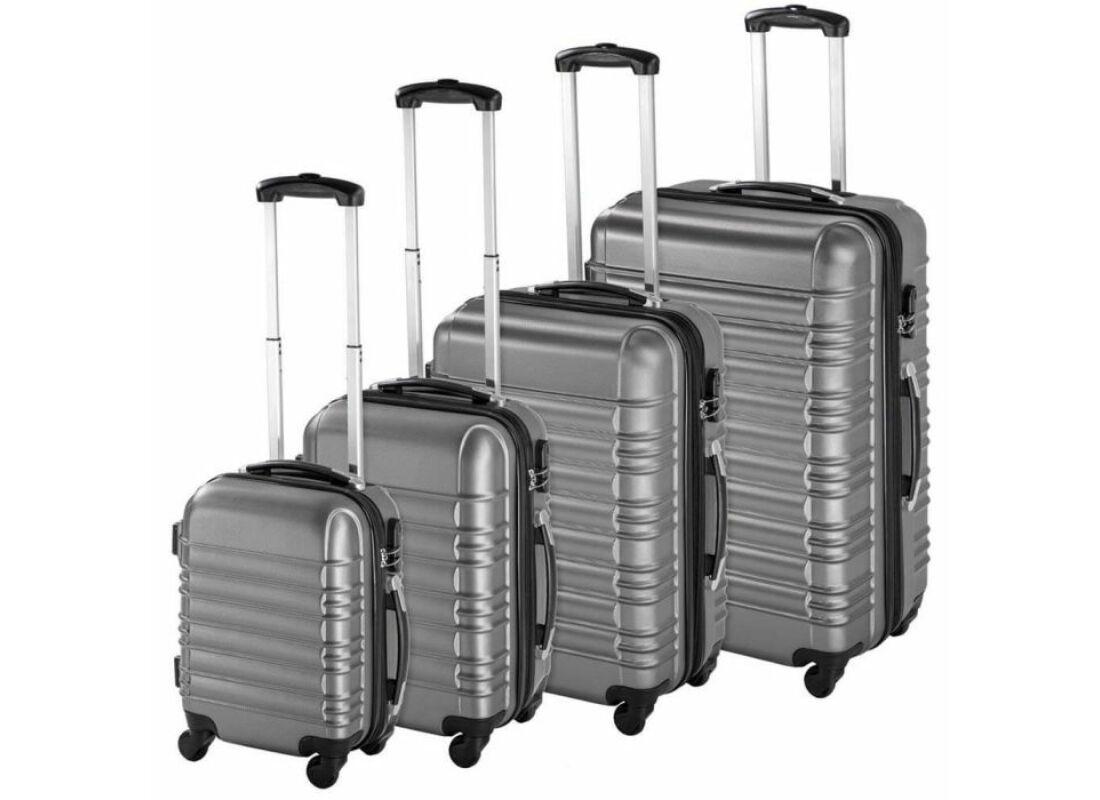 93b5bd42f8d8 4 db-os merev falú bőrönd szett, szürke