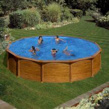 Fémfalas családi medence - GRE WOOD D 4,60 x 1,20 m medence, fa mintázattal