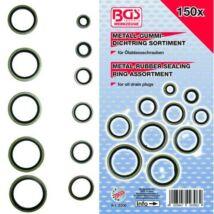 BGS-9306 Olajleeresztő csavar tömítés fém/gumi 150 részes