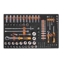 """Beta M100 98 részes 1/2"""" & 1/4""""˝-os dugókulcs készlet hőformált tálcán"""