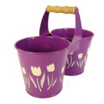 Ovális fémből készült, strapabíró, színes tulipán mintás dupla kaspó 12,5cm - lila