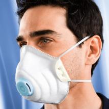 Szájmaszk szeleppel, vírusok, folyékony részecskék és toxikus porok ellen FFP3