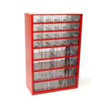 Fiókos alkatrész tároló faliszekrény 27 fiókos (30x46cm)