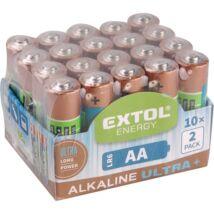 Extol elem klt. 20 db, alkáli, 1,5V, méret: AA (LR6), hosszú étettartam, 10×2db-os kinálóban