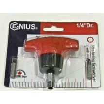 "Genius Tools racsnis bit T-hajtó, 1/4"", 72 mm"
