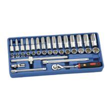 """Genius Tools crowafej készlet, normál és hosszú metrikus 3/8"""", 35 db-os"""