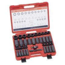 """Genius Tools légkulcsfej készlet, hosszú és normál, metrikus, 1/2"""", 40 db-os"""