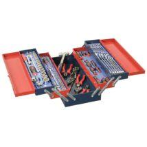 """Genius Tools hordozható szerszámos láda + szerszámok, metrikus, 1/4"""", 3/8"""", 1/2"""", 110 db-os"""