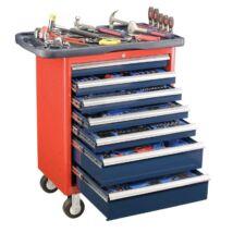 Genius Tools szerszámos kocsi 7 fiókos 69x46x82cm, 266 db-os szerszámkészlettel felszerelve