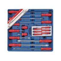 Genius Tools normál és műszerész csavarhúzókészlet, lapos és csillagfejű, 18 darabos
