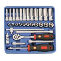 """Genius Tools crowafej készlet, normál és hosszú, metrikus 1/4"""", 30 db-os"""