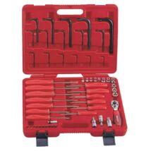 """Genius Tools csavarhúzó és L-kulcs készlet, torx E+T típusú, 1/4"""" és 3/8"""" 56 darabos"""