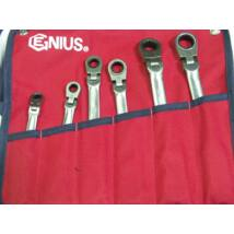 Genius Tools racsnis csillagkulcs készlet, csuklós, 8-19 mm, 6 db-os