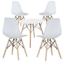 4db modern étkezőszék asztallal, fehér