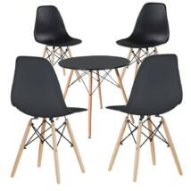 4db modern étkezőszék asztallal, fekete