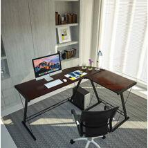 L-alakú íróasztal, sötétbarna