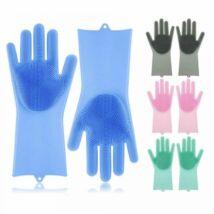 Szilikon mosogató és tisztító kesztyű, kék