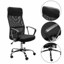 Ergonomikus irodai szék magasított háttámlával, fekete