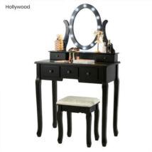 Hollywood fésülködőasztal székkel, fekete