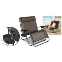 HOP1000931-1 Kétszemélyes zéró gravitáció kerti szék, 2db ajándék pohártartóval