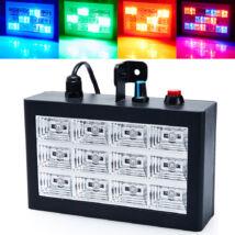 Színes LED stroboszkópos disco lámpa (12 LED-es)
