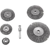drótcsiszoló körkefe készlet (25-38-50-63-75 mm, O6 mm-es csap, hullámos acél szálak)