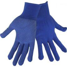 kötött kesztyű, kék, PE, fehér PVC pöttyökkel, méret:  9`