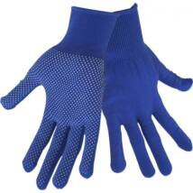 kötött kesztyű, kék, PE, fehér PVC pöttyökkel, méret:  10`