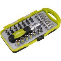 racsnis BIT dugókulcs, csavarhúzó készlet. (30db-os, CrV., irányváltós, mágneses, műanyag dobozban)