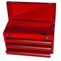 Fém szerszámos láda 3 fiókos + tároló rekeszes (52x21x30cm)