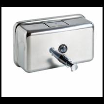 Nyomógombos szappanadagoló, vízszintes, r.m. acél, fényes, 1,2 liter