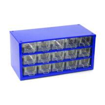 Csavartartó szortimenter - horgász doboz 15 rekeszes kék
