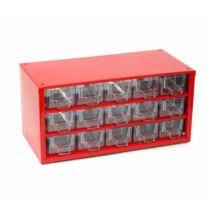 Csavartartó szortimenter - horgász doboz 15 rekeszes piros