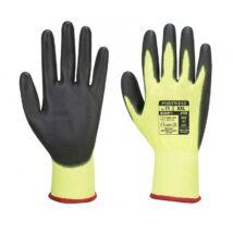 A120 nylon kesztyű, PU tenyérmártott, 8-as méretben, sárga/fekete
