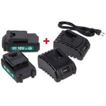 PowerPlus POWEB9090 2 db 18V 1,5Ah akkumulátor + 2 db töltő