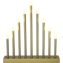LED-es gyertyapiramis időzítővel, arany, 9 LED, 6V