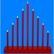 LED-es gyertyapiramis időzítővel, piros, 9 LED, 6V