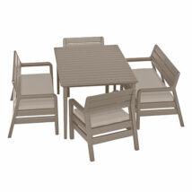 Allibert Delano műrattan kerti bútor szett étkező asztallal, cappuccino