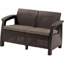 Allibert Corfu love seat kétszemélyes kanapé, sötétbarna