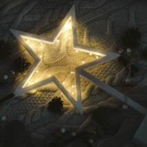 Csillag ablakdísz, meleg fehér, elemes, 20 LED, 39 cm