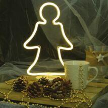 Neonfényű angyalka ablakdísz, meleg fehér, elemes, 32 cm
