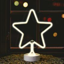 Neonfényű csillag ablakdísz, meleg fehér, elemes, 31 cm