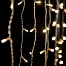 Toldható fényfüggöny, meleg fehér, átlátszó kábel