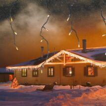 Jégcsapfüzér, meleg fehér, fekete kábel, 101 LED, 3 x 0,4 m