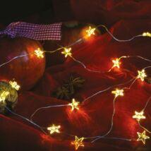 Tündérfény csillagokkal, meleg fehér, ezüst kábel, 20 LED, 2 m