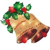 Világító karácsonyi ablakdísz csengő 36cm