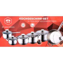 Zurrichberg ZB-8013 Rozsdamentes acél edénykészlet, 12 részes