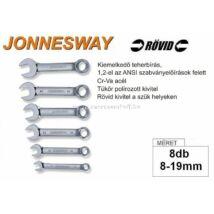 Jonnesway Profi Rövid Csillag-Villáskulcs Klt. 8-19mm / 8db-os