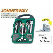 Jonnesway Profi Csuklós Racsnis Csill.-Villáskulcs Klt. 8-19mm 7db